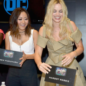 Karen Fukuhara and Margot Robbie at Comic Con for Suicide Squad